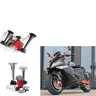 EGFHEAL Air Horn Kit, rumpet Car Motorbike Horn Kit Dual Trumpet Car Air Horn for Motorcycle Boat Truck Train 178DB 12V: Automotive