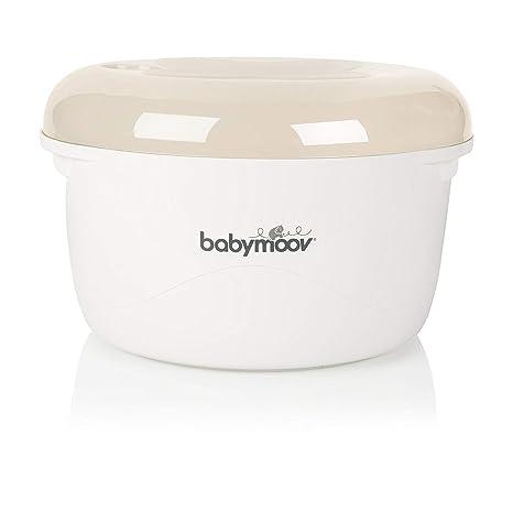 Babymoov A003207 - Esterilizador de Biberones para Microondas y Escurre-Biberones 2-en-1, Color: Crema