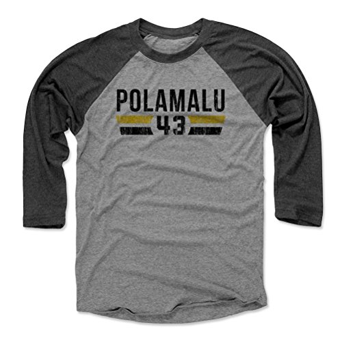 500 LEVEL Troy Polamalu Baseball Tee Shirt XX-Large Black/Heather Gray - Vintage Pittsburgh Football Raglan Shirt - Troy Polamalu Font K -