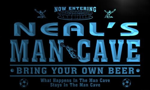 qd1271-b Neal's Man Cave Soccer Football Bar Neon Beer Sign - Neal Ball
