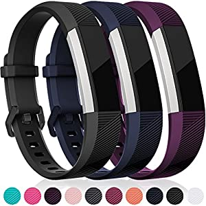 Maledan for Fitbit Alta HR and Alta Bands, Replacement Accessories Wristbands for Fitbit Alta and Alta HR, Black Blue Plum Small