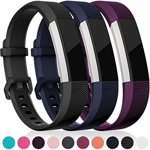 For Fitbit Alta HR and Alta Bands, Maledan Replacement Accessories Wristbands for Fitbit Alta and Alta HR, Black Blue Plum Large