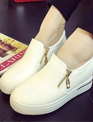 ZQ gyht Zapatos de mujer-Tacón Cuña-Cuñas-Mocasines-Exterior / Casual-Semicuero-Negro / Blanco / Beige , white-us9 / eu40 / uk7 / cn41 , white-us9 / eu40 / uk7 / cn41 beige-us6 / eu36 / uk4 / cn36