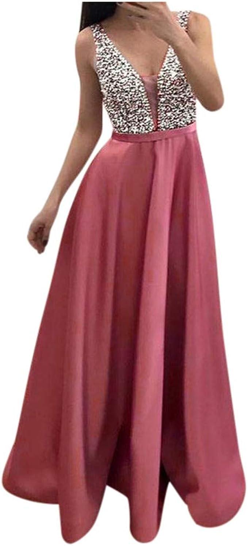 Damen V-Ausschnitt Partykleid, Hochzeit Abendkleıder, Abendkleid