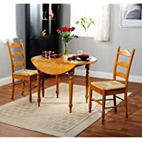 Simple Living Wood and Rush 3-piece Ladderback Dining Set Drop Leaf Table and Two Ladderback Chairs