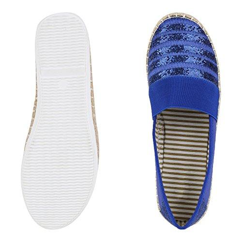 napoli-fashion - Mocasines Mujer Blau Pailletten