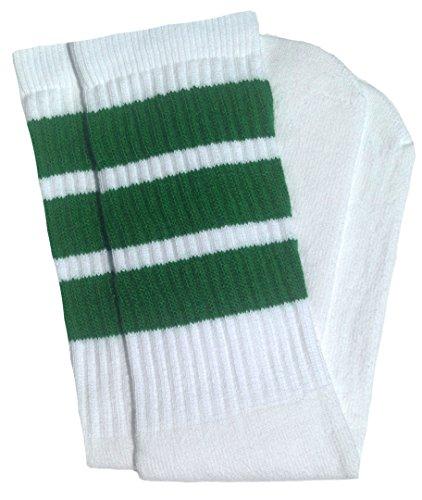 """SKATERSOCKS Skater Socks 19"""" Mid Calf White Tube Socks with Green Stripes Style 1"""