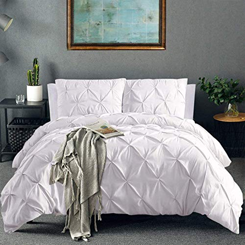 Vailge 3 Piece Pinch Pleated Duvet Cover with Zipper Closure, 100% 120gsm Microfiber Pintuck Duvet Cover, Luxurious…