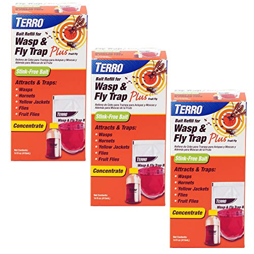- Terro T515SR Wasp & Fly Trap Plus Fruit Fly - Refill-3 Pack, Red
