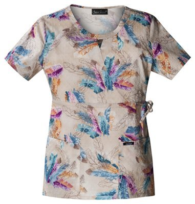 Mock Wrap Print Scrub Top Les Plumes X-Small (Cherokee Feather)