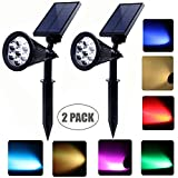 Solar powered spot lights outdoor 7 led multi color Bright & Dark Sensor Solar Garden Lights for the patio,lawn & garden Waterproof Security (two model: Changing & fixed color)