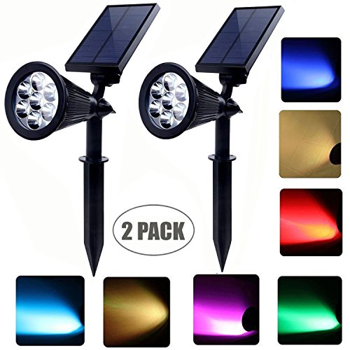 Solar powered spot lights outdoor 7 led multi color Bright & Dark Sensor Solar Garden Lights for the patio,lawn & garden Waterproof Security (two model: Changing & fixed (Outdoor Spot)