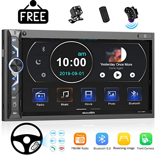 7 inch Double Din Digital Media Car Stereo Receiver,aboutBit Bluetooth 5.0 Touch Screen Car Radio MP5 Player Support Rear/Front-View Camera, AM/FM/MP3/USB/Subwoofer,Aux Input,Mirror Link (Best Double Din Radio)