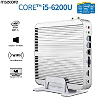 Msecore Home Fanless Mini PC Host With Intel i5-6200U 5th Generation CPU Intel Hd Graphics Hd520, single 8GB DDR3 RAM, 256GB mSATA SSD