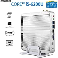 Msecore Home Fanless Mini PC Host With Intel i5-6200U 5th Generation CPU Intel Hd Graphics Hd520, single 4GB DDR3 RAM, 128GB mSATA SSD