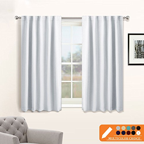 Black And White Window Treatments (Silver White Bedroom Curtains Set - PONY DANCE Room Darkening Back Tab/Rod Pocket Window Treatments Privacy Protect / Blackout Curtain Panels for Dining Room, 42