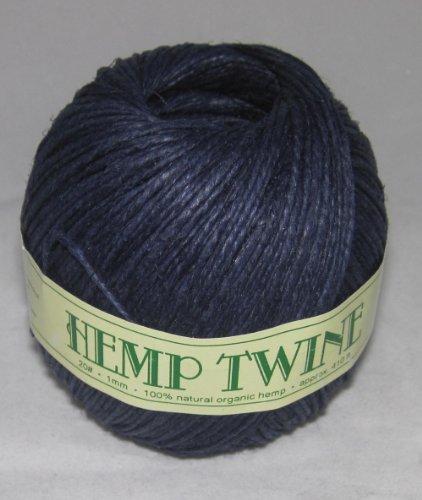 1mm 20# Hemp Twine Cording 100% Natural Organic - 20# 1mm approx. 410ft -COLOR DARK BLUE