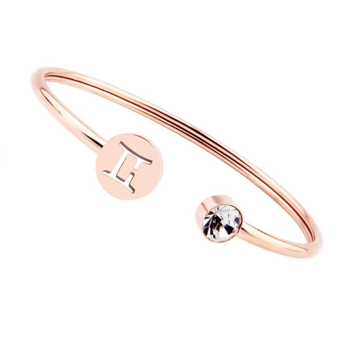 WUSUANED Rose Gold Zodiac Sign Cuff Bracelet Bangle with Clear Crystal Birthday Gift for her