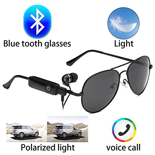 Bluetooth wireless invisible headset glasses sunglasses waterproof smart song artifact 2 color microphone phone … (Round Sunglasses)