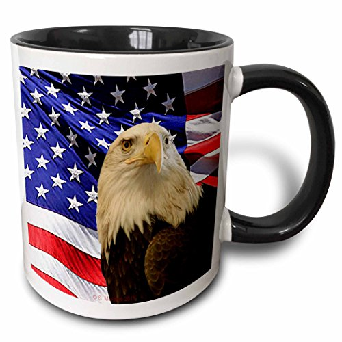 3dRose 21650_4 Bald Eagle and American Flag - Two Tone Black Mug, 11 oz, -