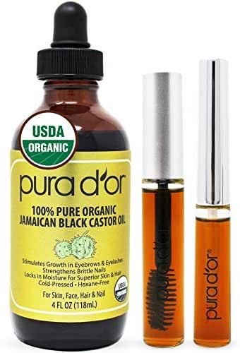 PURA D'OR Organic Jamaican Black Castor Oil (4oz) 100% Pure USDA Organic - Cold Pressed - For Lashes, Brows, Skin & Hair - Promotes Thicker Eyebrows, Eyelashes & Healthier Skin With Bonus Brush Kits