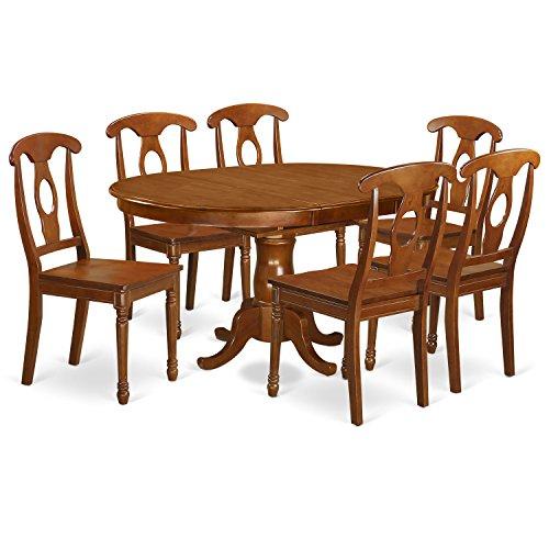 East West Furniture PONA7-SBR-W 7-Piece Dining Table Set