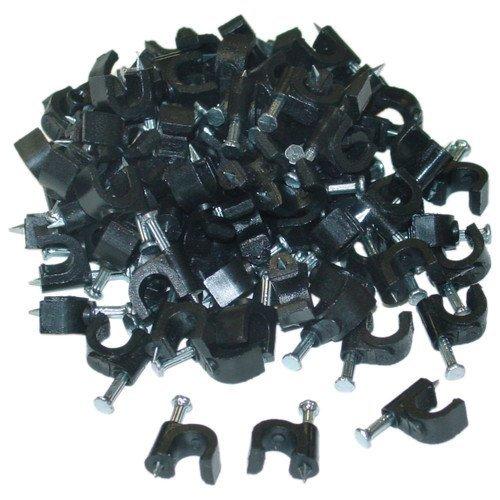 CableWholesale's RG6 Cable Clip, Black (100 pieces per bag)
