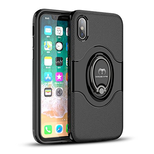 iPhone X Case, Mosafe 360° Rotating Ring Holder Kickstand Shockproof with Magnetic Protective Back Cover Bumper 5.8 Inches for iPhone X (Black)