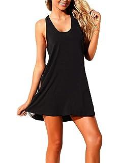 8d5ed745b96 Vanbuy Womens Mesh Side Racerback Beach Dress Sleeveless Swimsuit Bikini Cover  Ups Swimwear