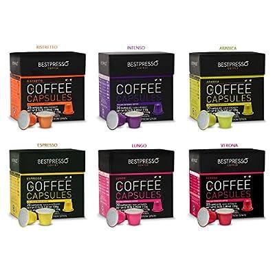 Nespresso Compatible Gourmet Coffee Capsules - 120 Pod Variety Pack - for Original Line Nespresso Machine - Bestpresso Brand Certified Genuine Espresso - 60 Days Satisfaction Guarantee by Bestpresso