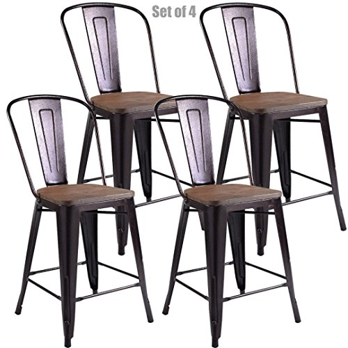 Vintage Antique Style Metal Steel Rustic Wood Bar Stools School Office Counter Chairs Sturdy Frame Scratch Resistant - Set of 4 Copper - Picture Frames Honolulu