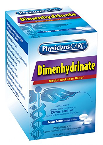 (PhysiciansCare by First Aid Only Motion Sickness Pills (Dimenhydrinate), 50 Packets of 2 Tablets )