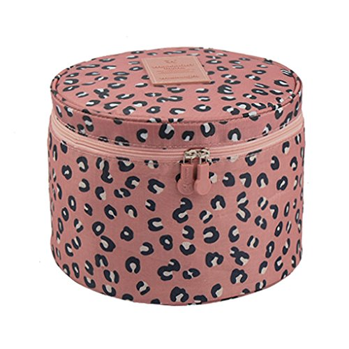 FakeFace Cute Compact Design Round Toiletry Cosmetic Bag Underwear Tidy Organizer Makeups Container Box Case Travel Bags(Pink Leopard)