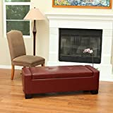 Lochlan Red Leather Storage Ottoman