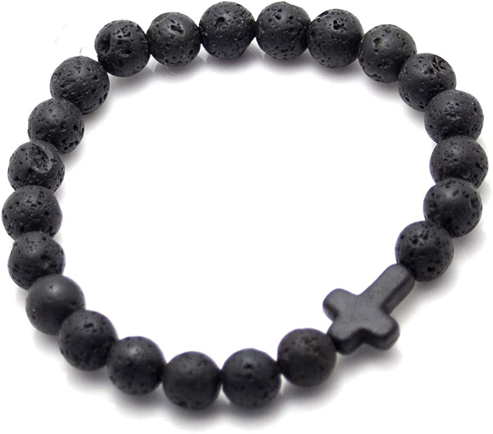 Xusamss Fashion 8mm Lava Rock Essential Oil Diffuser Bracelet Religious Cross Elastic Link Bracelet,7 1//2 Wrist