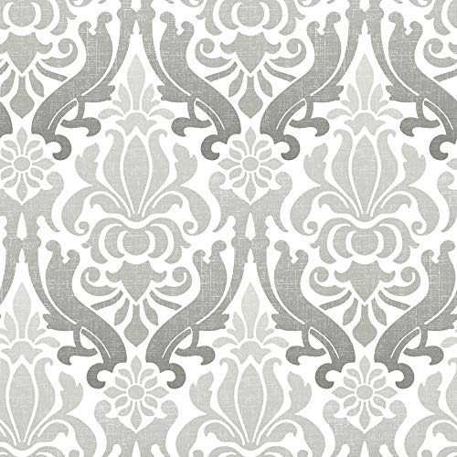 Brewster Home Fashions NuWallpaper Grey Nouveau Damask Peel and Stick Wallpaper,
