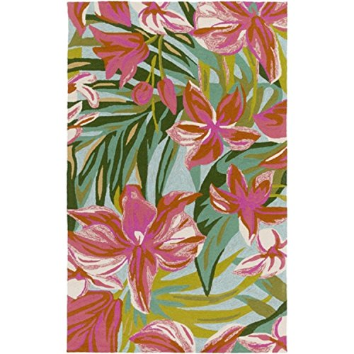 Diva At Home 8' x 10' Tropical Forest Getaway Hot Pink, Burnt Sienna and Woodland Green Area Throw Rug (Burnt Rug Sienna Wool)