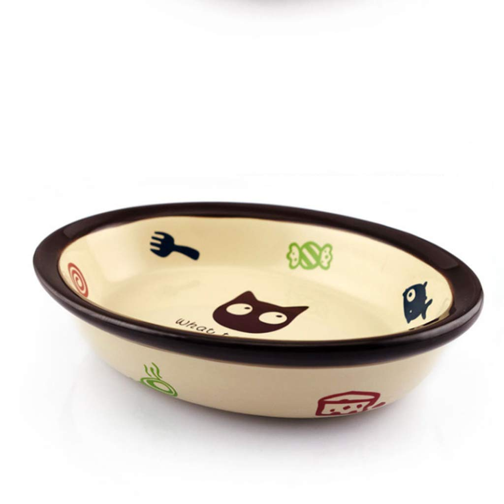 CXQ Dog Bowl Cat Bowl Pet Practical Oval Ceramic Non-Slip Food Bowl Cartoon Cat Bowl Durable Pet Supplies