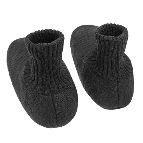 Mens Womens Winter Thick Thermal Knit Slippers Socks House Indoor Booties Footwear Deep Grey 6oPkF6U
