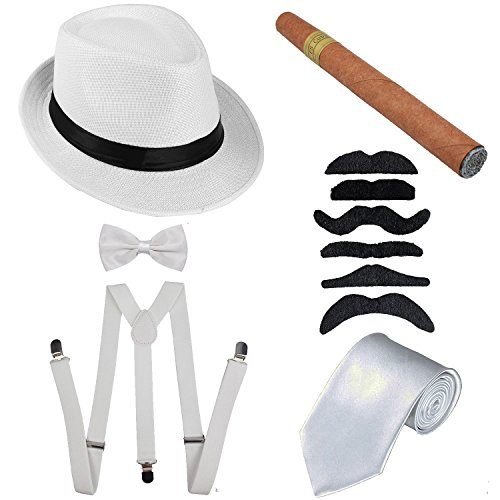 1920s Mens Accessories Hard Felt Panama Hat, Y-Back Suspenders & Pre Tied Bow Tie, Tie,Toy Cigar & Fake Mustache (OneSize, 1White) -