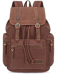 Canvas Vintage Backpack Leather Casual Bookbag Men Rucksack