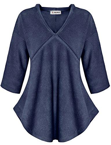 Tom's Ware Womens Wide Hem 3/4 Sleeve Hoodie Top (Made in USA) TWAWD3605-NAVY-US - Shop In Usa