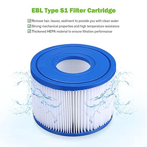 EBL Swimming Pool Spa Filter 6 Pack for Intex Pool Filters Type S1, Swimming Pool Spa Filter Replacement for Intex 29001E Hot Tub Filter Cartridge for Intex S1 PureSpa Filter Pump