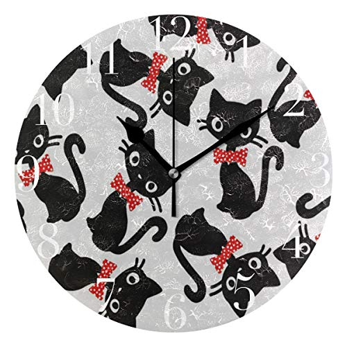 NMCEO Round Wall Clock Black Cat Playing Red Bow Tie Acrylic Original Clock for Home Decor Creative