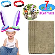 AMENON 2 Pack Easter Inflatable Bunny Rabbit Ears Ring Toss Party Games Indoor Outdoor Rabbit Ears Ring Toss Toys Gift Party