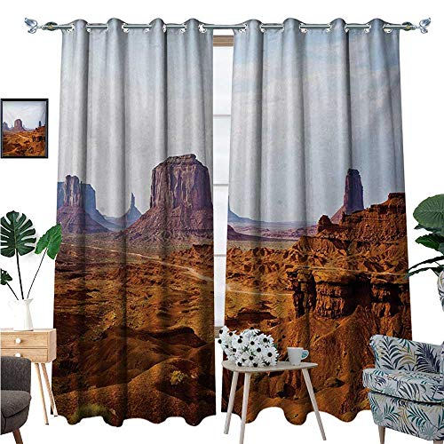Desert Window Curtain Fabric Monument Valley View from John Fords Point Merritt Butte Sandstone Image Drapes for Living Room W96 x L84 Baby Blue Mauve - Sandstone Pearl Pearl Antique