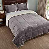 Alternative Comforter - 3-Piece Sherpa Reversible Down Alternative Comforter Set with Pillow Shams, King Size, Grey