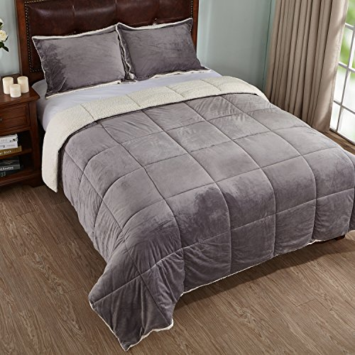 3-Piece Sherpa Reversible Down Alternative Comforter Set with Pillow Shams, King Size, Grey