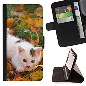 DEVIL CASE - FOR Samsung Galaxy S4 Mini i9190 - Kitten White Grey Spots Grass Autumn Photot - Style PU Leather Case Wallet Flip Stand Flap Closure Cover