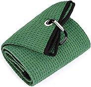 Mile High Life Tri-fold Golf Towel | Premium Microfiber Fabric | Waffle Pattern | Heavy Duty Carabiner Clip |